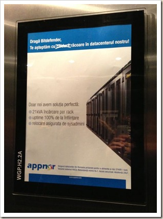 publicitate_in_lift_Elevate_Appnor_Bitdefender_Novo_Park